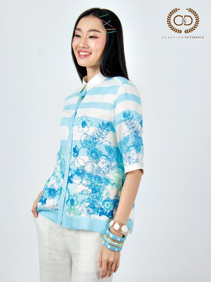 Blue Stripe Flowers Rayon Shirt (CR2SBU)