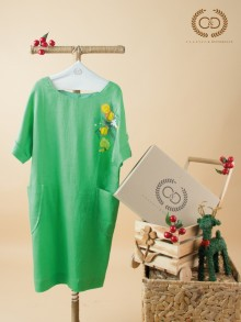 Green Premium Linen Dress (CI11GR)