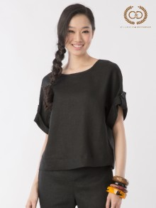 Black Premium Linen Blouse (CL4HBL)