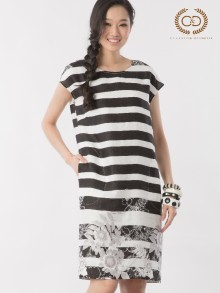 B&W Stripe Premium Linen Dress (CL5HBL)