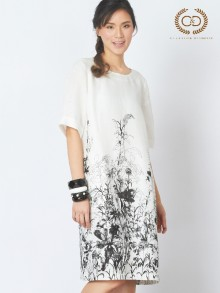Drawing Flowers Premium Linen Dress (CO13WH)