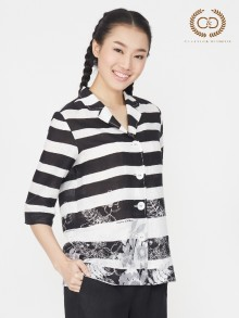 B&W Stripe Flower Premium Linen Blouse  (CO1KBL)