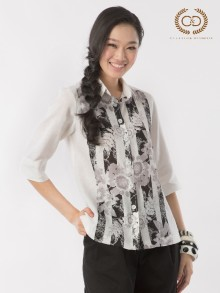 B&W Stripe Flowers Premium Linen Shirt (CO1NWH)