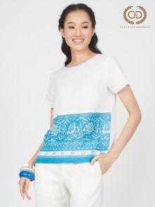 Blue Sky Flowers Premium Linen Blouse (CP2UBU)