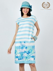 Blue Stripe Flowers Rayon Dress (CR13BU)