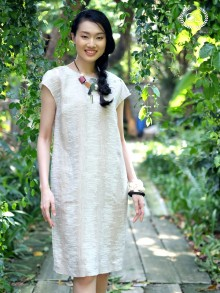 Brown Linen Premium Dress (CQ2QBE)